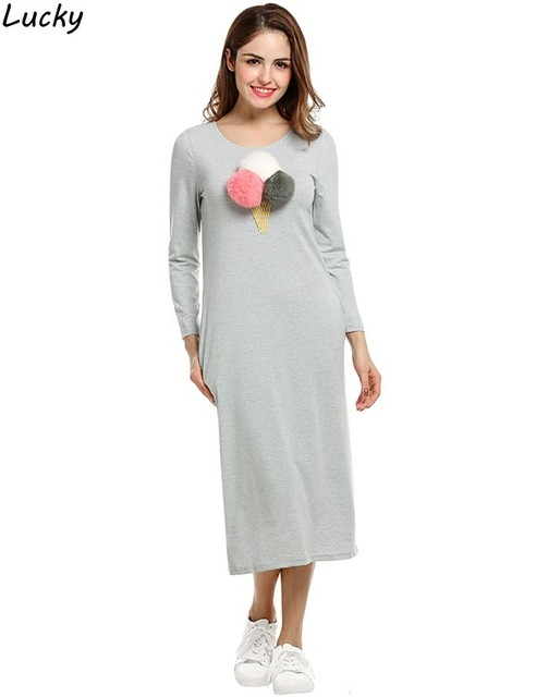 Spring Women Dress Casual O Neck Long Sleeve Mid Calf Length Dresses