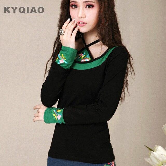 KYQIAO Mujeres suéteres para niñas otoño vintage étnico manga larga negro verde bordado t shirt sexy bellyband lindo t-shirt
