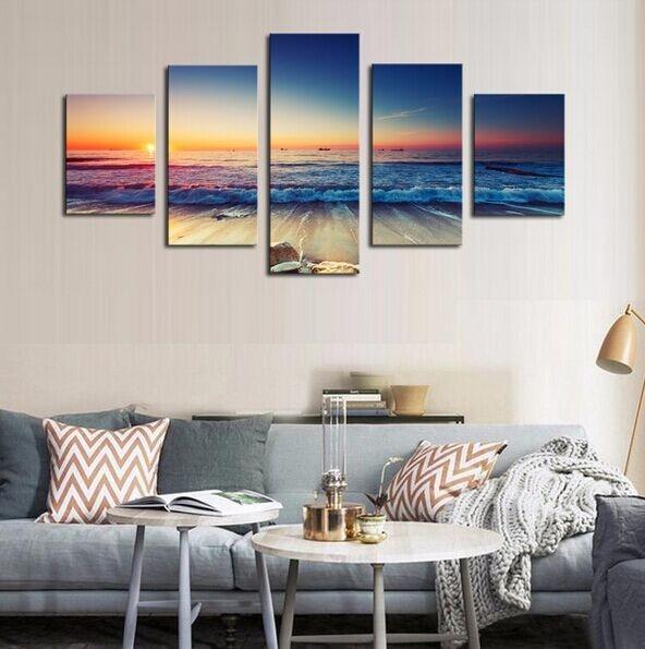 5 panel plakatlar çap kətan dəniz mənzərəsi gün batımı - Ev dekoru - Fotoqrafiya 3