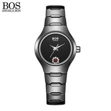АНЖЕЛА BOS Черный Керамические Стразы Цветок Пара Часы Женщины Мужчины Известный Бренд Luxruy Кварцевые часы Дамы Наручные Часы мужчины