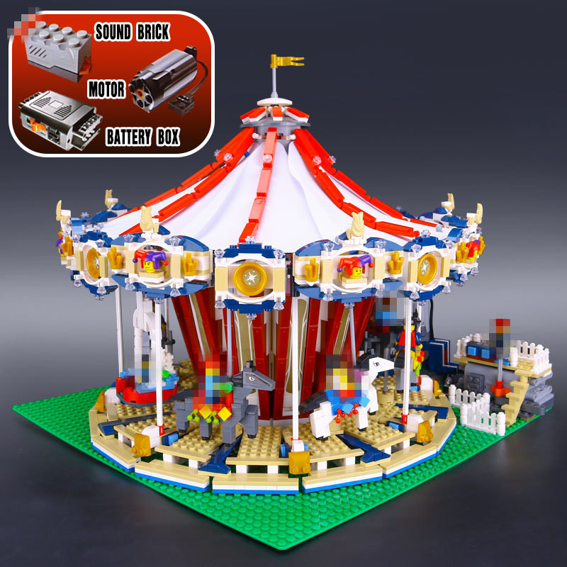 Lepin 15013 City Street Carousel Model Building Kits Assembling Blocks Toy Compatible with 10196 Educational Gifts lepin 15009 city street pet shop model building kid blocks bricks assembling toys compatible 10218 educational toy funny gift
