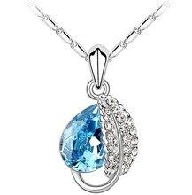 Fashion Korea   Acacia leaf green crystal jewelry bridal wedding necklace retro necklace