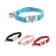 Rhinestone Heart Cat Collar Necklace For Puppies Dog Safety Elastic Adjustable Soft Material Velvet 4 Colors S Pet Products