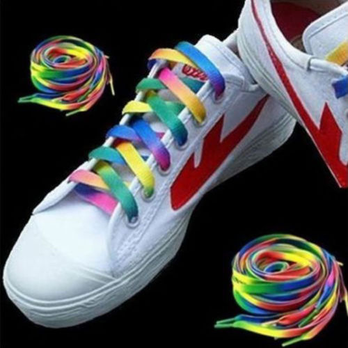 цена 2pairs 4PC Rainbow Flat Canvas Athletic Shoelace Sport Sneaker Shoe Laces Boots Strings
