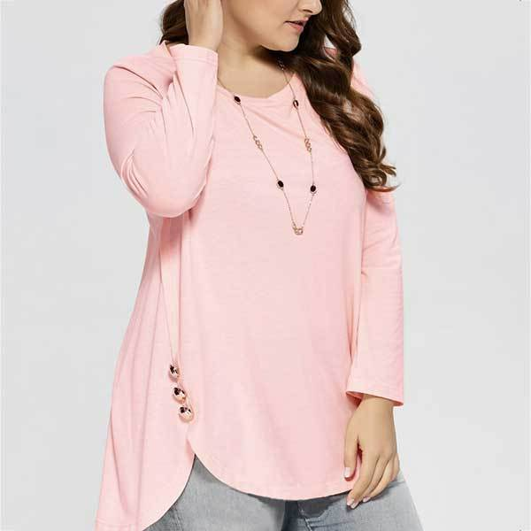 Women Soft Pretty Comfortable Slit Hem Handmade Buttons Plus Size Loose T Shirt Tee XL/XXL/XXXL/4XL/5XL