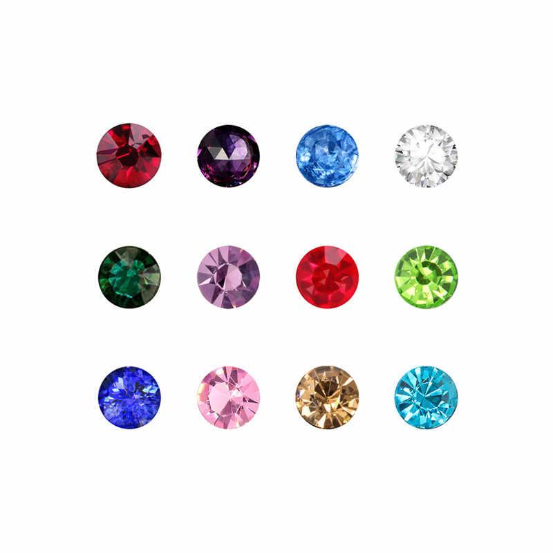 Forma redonda 3mm/4mm/5mm 12 meses piedra de nacimiento Vidrio colorido flotante encanto joyería encontrar para medallón de la vida de la memoria como regalo