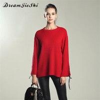 Dreamjieshi Moda jesień zima sweter na drutach swetry kobiet Casual lace up kobiety Streetwear elastyczna jumper pull femme