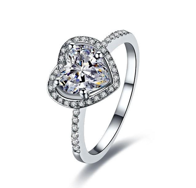 2 Carat Solid 18K Gold Heart Shape Noble Simulate Diamond Wedding ...