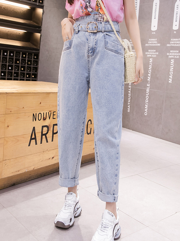 JUJULAND woman jeans casual harem jeasns sashes blue loose jeans 2019 autumn winter new style jeans 8613(China)
