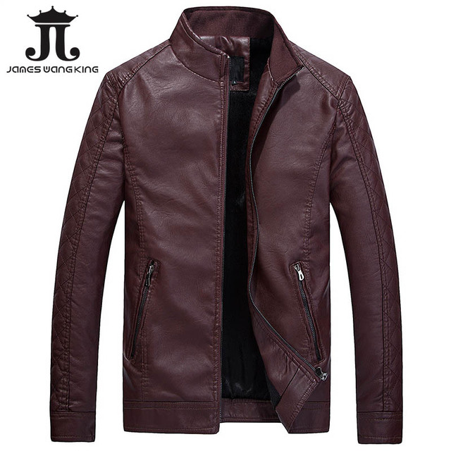 James Wang King Brand Men's Winter Jackets thick Collar slim  fashion PU leather motorcycle jacket windproof bomber jacket M-3XL