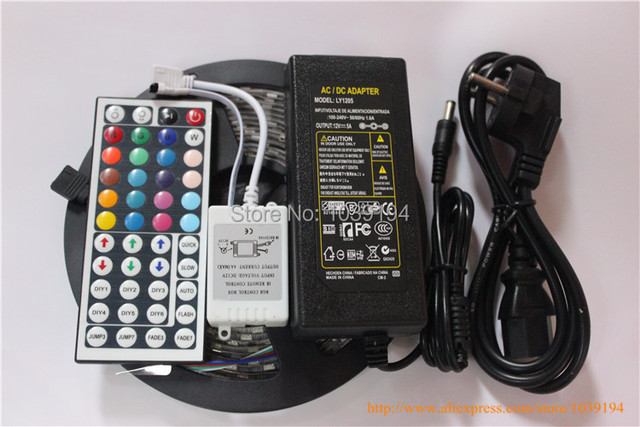 Ip65 waterproof led strip light 5050 smd 300led 5M RGB led rope +44key IR remote controller + 12V 5ATransformer
