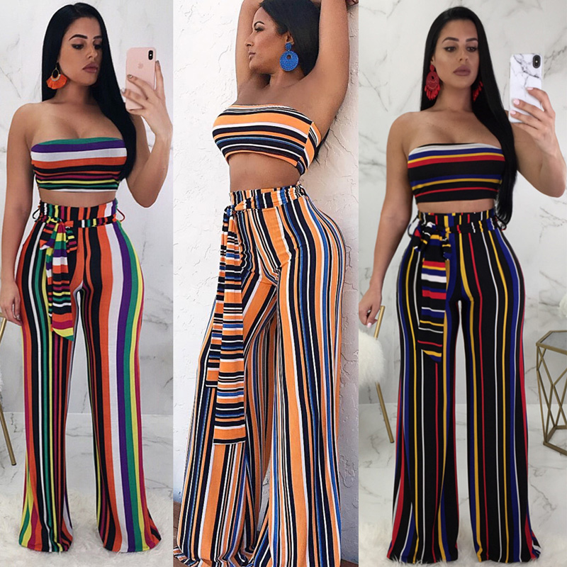 7dd5ff2a5ae Sexy Matching TWO PIECE SET Outfit For Women Tube Top Strapless 2 Two-Piece  Suit Stripe Wide Leg Plus Size Two-Piece-Set Palazzo