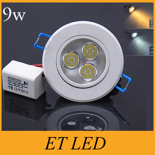 20pcs 9w led downlights dimmable led bulbs ac90 260v or 12v led