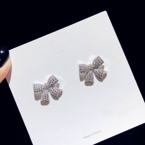 Image 4 - Stud Earrings For Women Solid 925 Silver Needles Bowknot Cubic Zirconia Fine Jewelry Lovely Sweet Cute Brincos Top Quality
