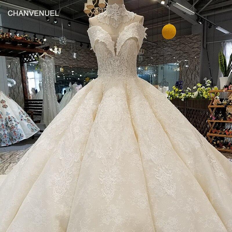 LS92210 сексуальный с плеча слоновой кости свадебное платье с высоким кружевом ожерелье возлюбленной бальное платье невесты свадебные платья