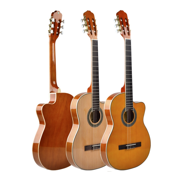 Acoustic Classic Guitar Thin Body 39 Inch Electric Nylon String Guitarra 6 String Spruce Red High Gloss Cutaway Electro Travel