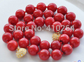 "$wholesale_jewelry_wig$ free shipping AAA 18"" 12mm red round coral bead NECKLACE"
