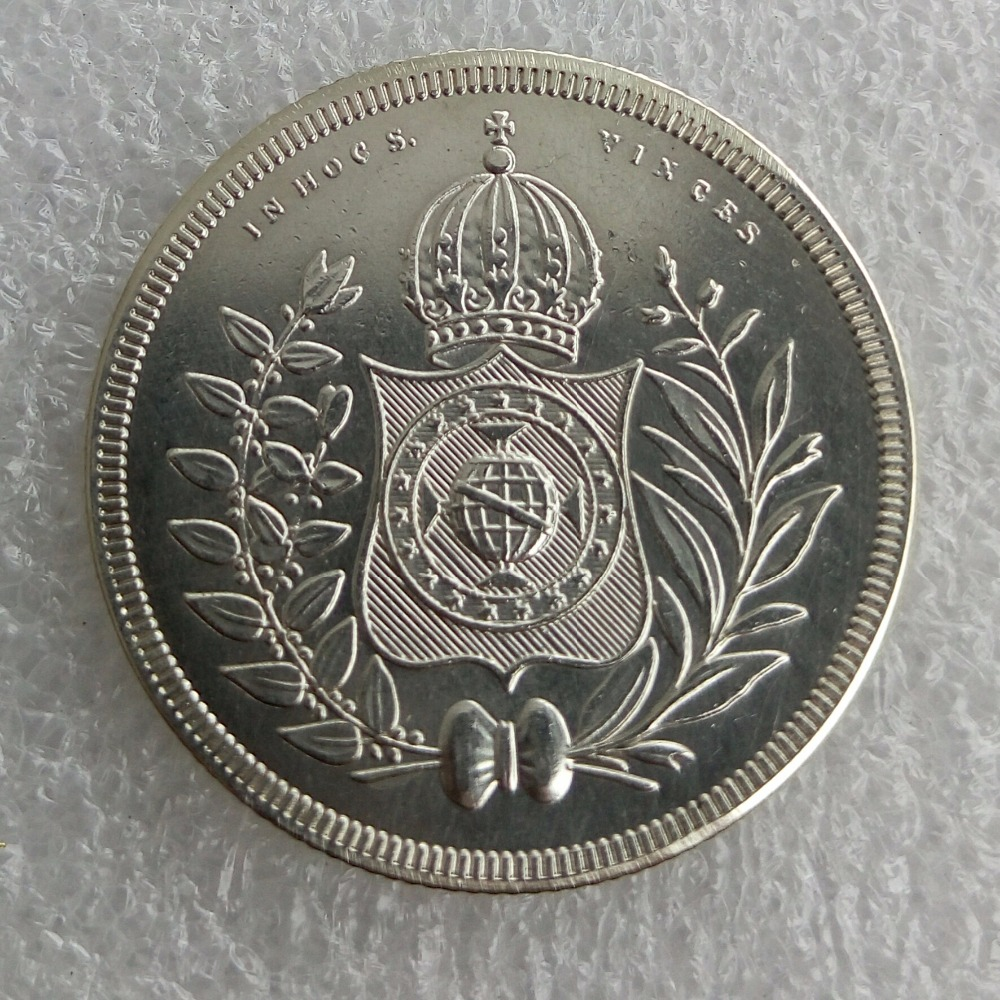 90% серебряные Бразилия 400 Reis 1834 1844 1845 Серебряный империи Pedro II копирования монеты