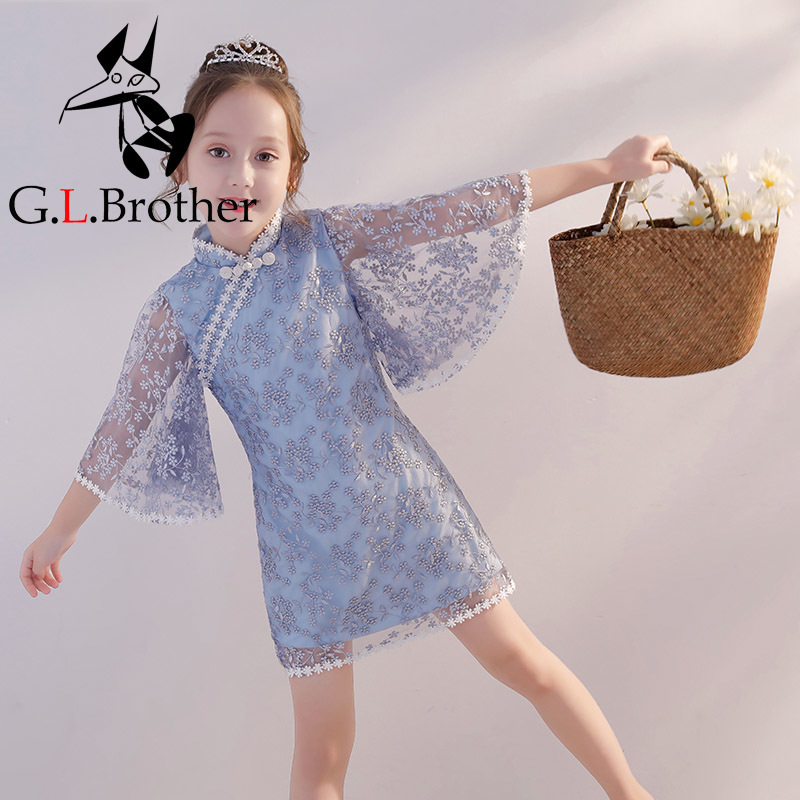 Flare Sleeve Flower Girl Dresses For Wedding Lace Embroidery Kids Pageant Dress For Birthday Party Chinese Style Princess Dress retro lace panel fit and flare dress