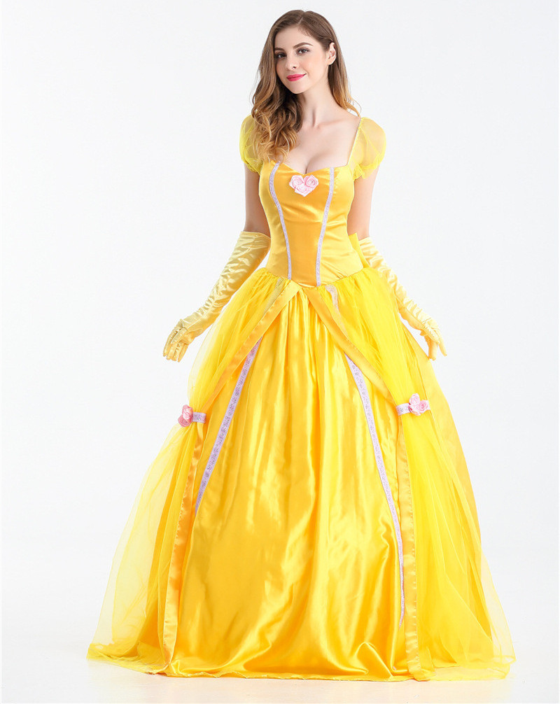 High Quality 2018 Fantasia Women Halloween Cosplay Southern Beauty And The  Beast Adult Princess Belle Costume Yellow Long Dress In Movie U0026 TV Costumes  From ...