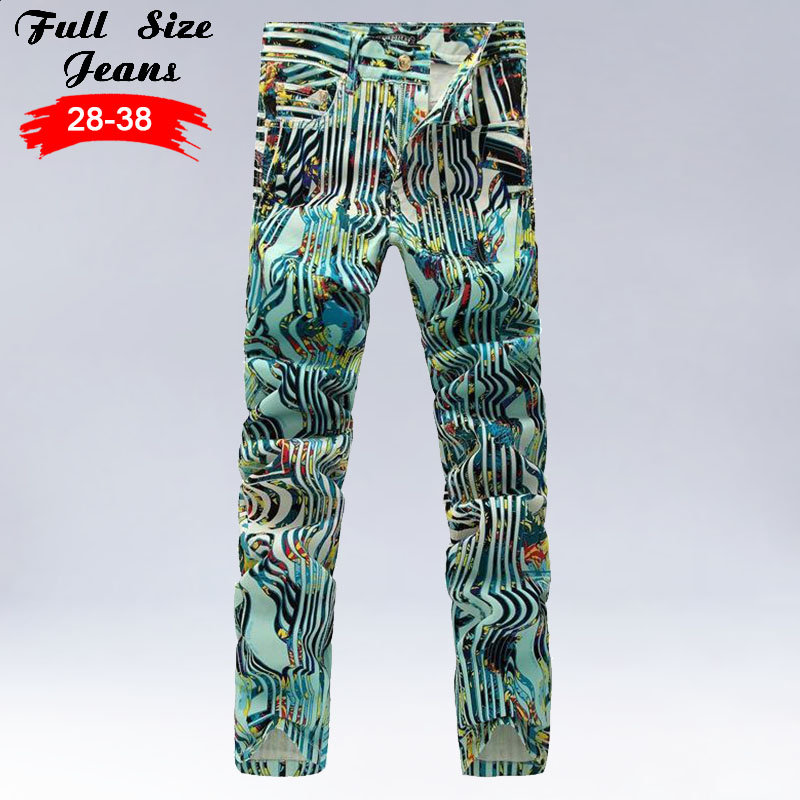 Design Streetwear Striped Printed Jeans Men Geometric Print Dark Green Stretch Slim Fit Pants