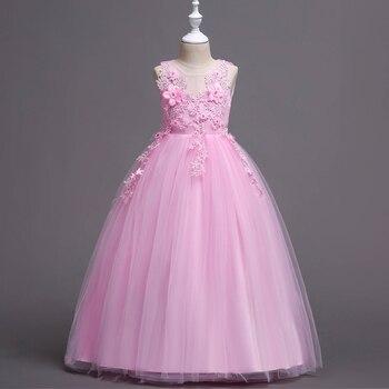 f2113fe99 Rojo blanco púrpura de los niños vestidos de princesa para las niñas de boda  y vestidos de fiesta de cumpleaños de los niños traje de La Rosa flor  vestido ...