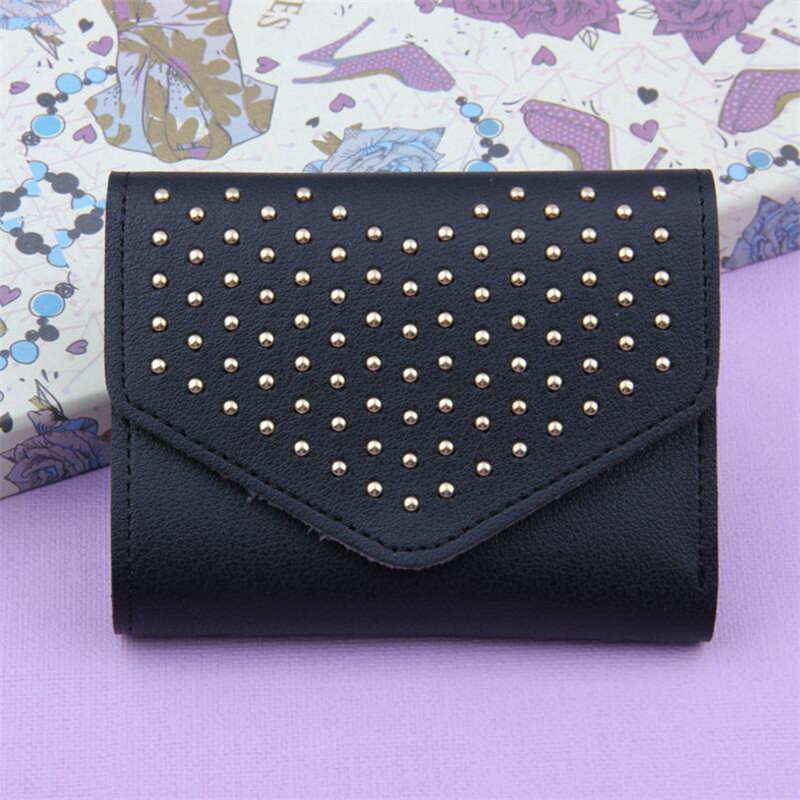 4 Colors New PU Leather Wallet Women Clutch Purse Fashion Short Rivet Lady Purse Brand Coin Purse Party Clutch Wallet Money Bag fashion women leather bags wallet purse tassel brand wallet women purse dollar price travel coin purse credit money mlt812wallet