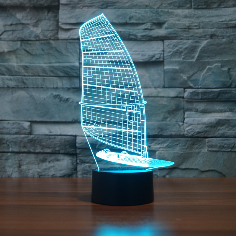 new sailing 3D light colorful touch LED visual light creative gift atmosphere desk lamp