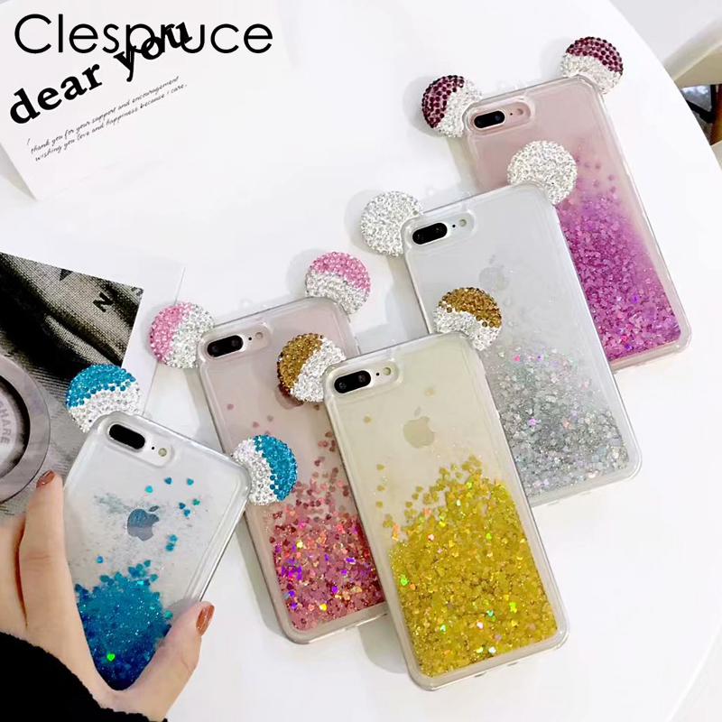 Clespruce Shine Dynamic Liquid Quicksand Phone Case For iphone 8 7 X 6 plus Bling Glitter Rhinestone Mickey Mouse Ear Cute Cover