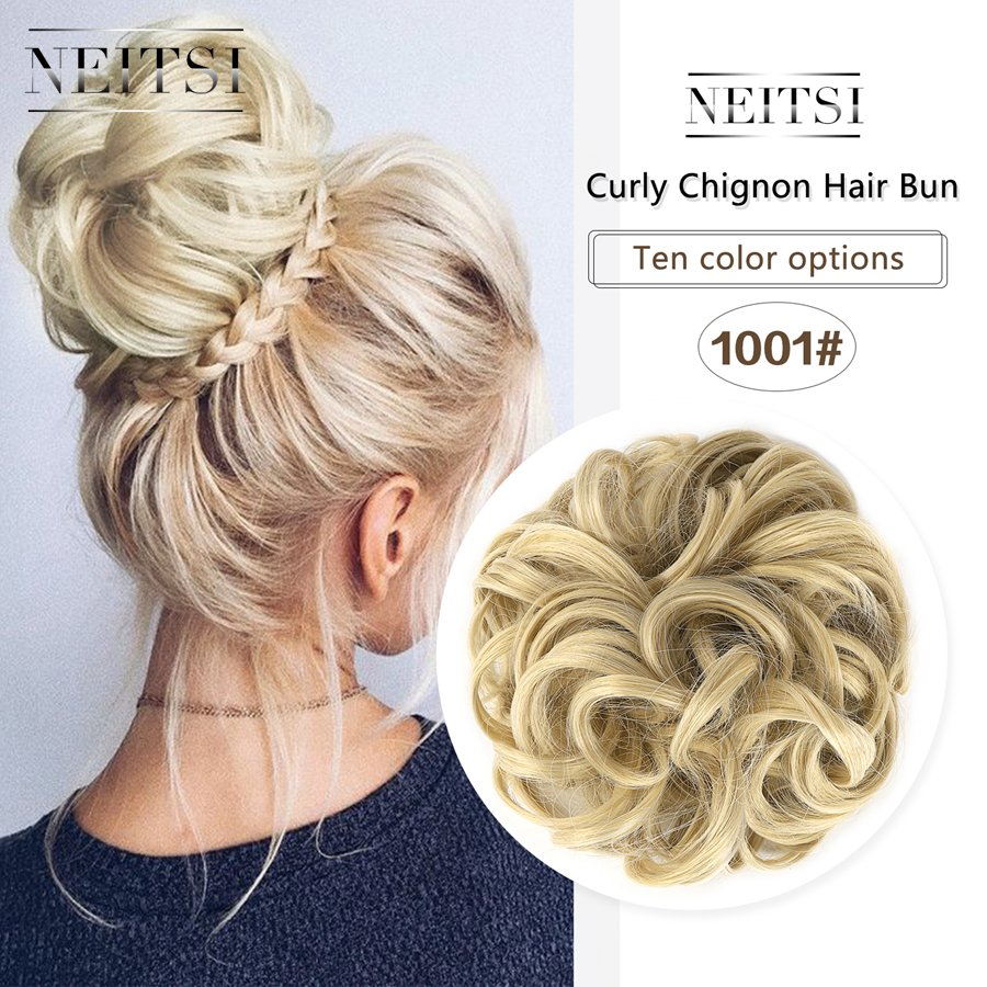 Neitsi Women Curly Chignon Hair Bun For Brides Synthetic High Extensions Ponytail Hair Bundles Hairpieces Buns 1001 Donut Bun Hairstyles For Long