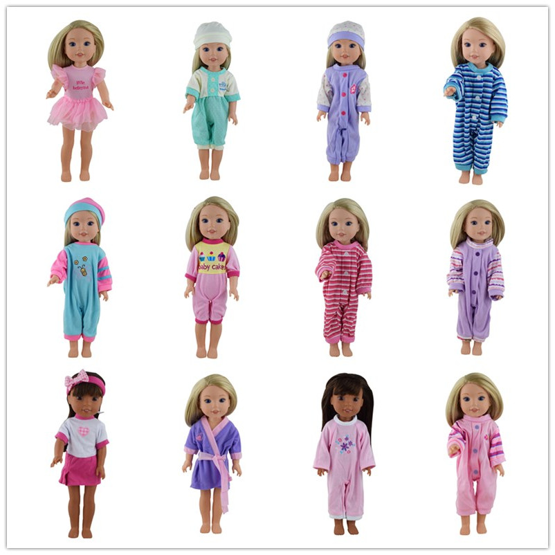 15color choose 1 Doll Clothes Wear Fit 14.5 Inch American Girl Dolls Wellie Wishers,Children best Birthday Gift american girl doll clothes for 18 inch dolls beautiful toy dresses outfit set fashion dolls clothes doll accessories