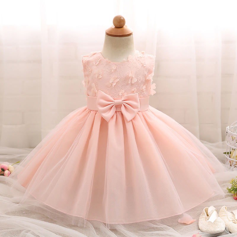Girl Dresses Children Dress Party Summer Princess Lace Solid Bow Baby Girl Dresses Wedding Birthday L249 high quality lace girl dresses children dress party summer princess baby girl wedding dress birthday big bow pink for 100 160