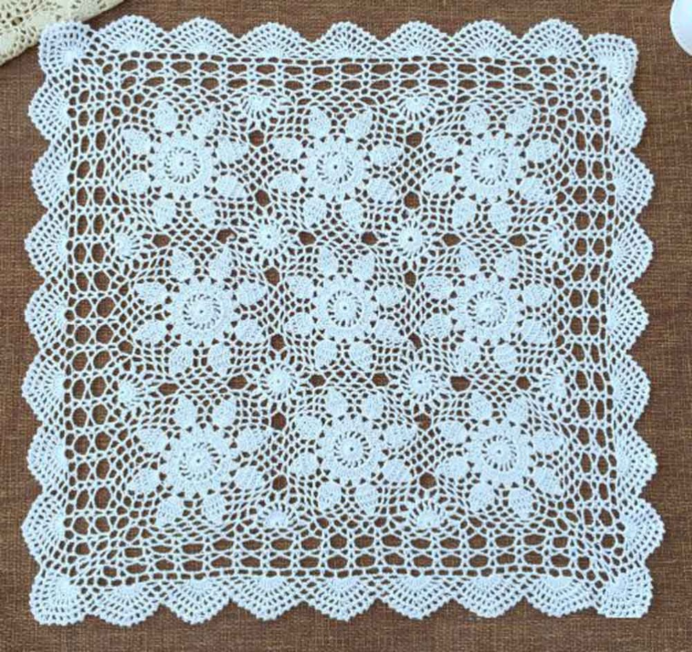 100 cotton designing crochet patterns handmade crochet square 100 cotton designing crochet patterns handmade crochet square doilies christmas placemat table cloth for wedding supplies 2pcs in mats pads from home bankloansurffo Image collections