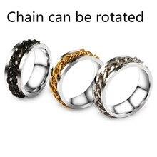 8mm retro stainless steel chain rotation ladies mens new ring wedding round jewelry titanium
