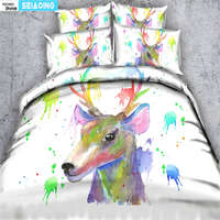 colorful dear bed clothes cute rainbow elk 3d comforter cover adult room decor single twin full queen king size bedding set hot