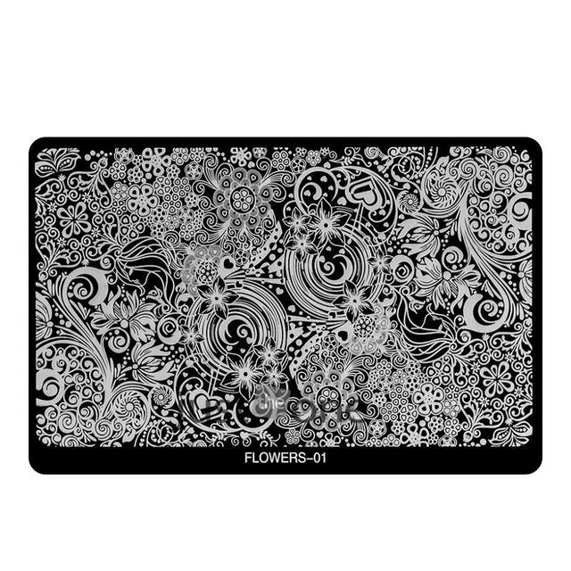 Flor elegante de moda patrón diseños Nail Art imagen placas estampación sello manicura plantilla 1 unids