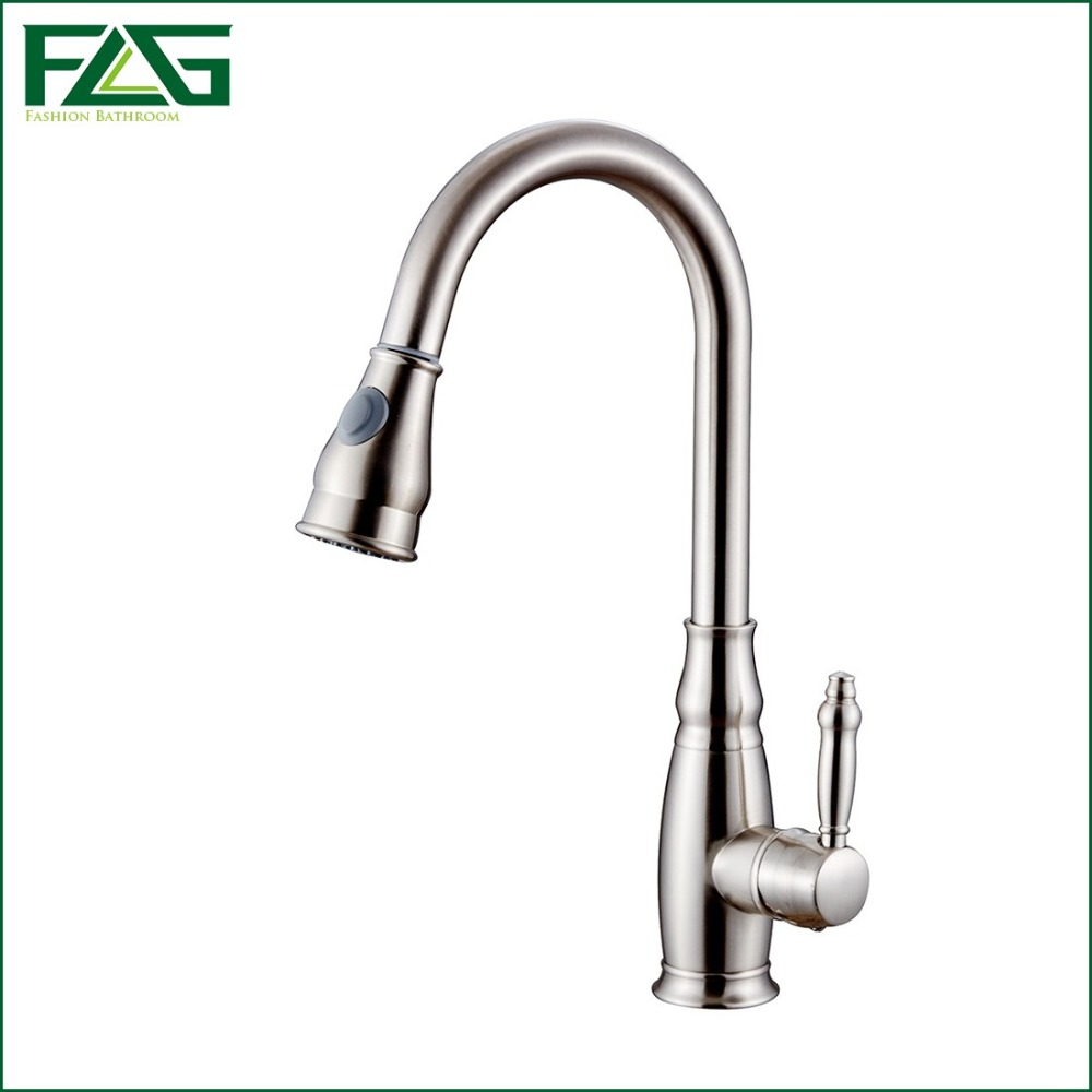 FLG European Kitchen Faucet Pull Out Brushed Nickel 360 ...