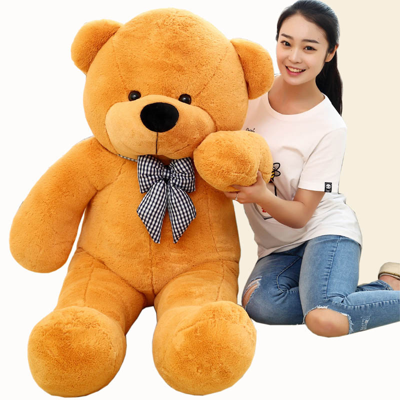 1 piece light brown High quality Low price stuffed Plush toys large size100cm teddy bear 1m/big bear doll /lovers birthday gift 2017 new year teddy bear plush toys high quality and low price skin holiday gift birthday gift valentine gift stuffed animals