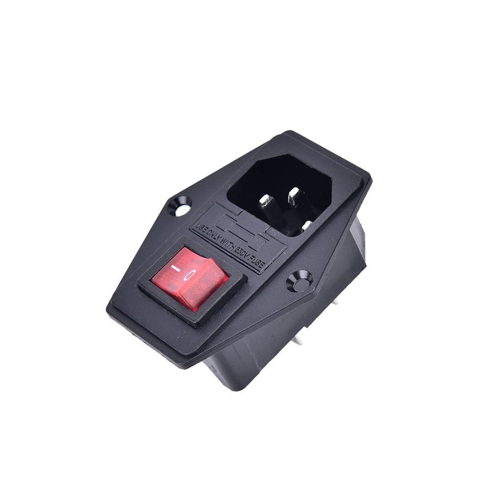 1Pc ON/OFF Switch Socket With Female Plug For Power Supply Cord Arcade Machine IO Switch With Fuse