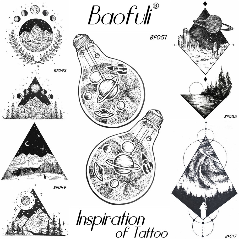 Temporary Male Space Spacecraft UFO Tattoo Bulb Stars Body Art Painting Back Arm Leg Tatoos Waterproof Black Fake Tattoo Sticker