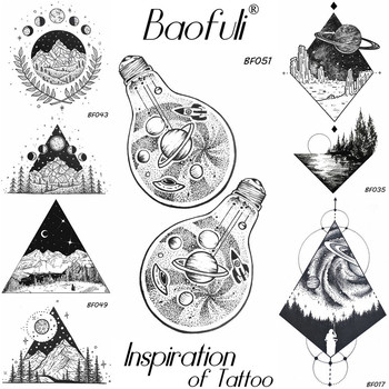 Temporary Male Space Spacecraft UFO Tattoo Bulb Stars Body Art Painting Back Arm Leg Tatoos Waterproof Black Fake Tattoo Sticker
