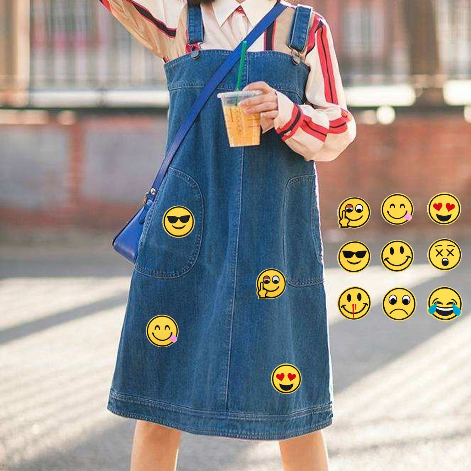 9PCS Cute Smile Face Expression Embroidery DIY Clothes Patches Fabric Applique Garment Decoration for T-shirt Jeans Clothing Bag