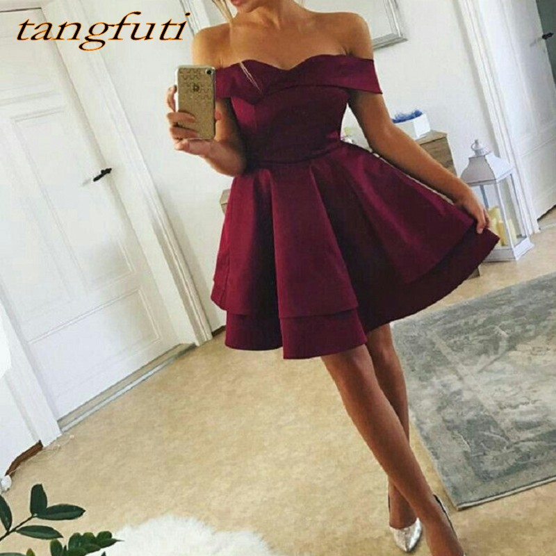 Dark Red Short   Cocktail     Dress   Off The Shoulder A-Line for Graduation Prom Party Coctail   Dress   vestido de festa curto coctel