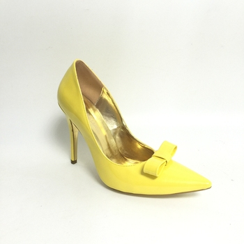 Yellow Bowknot Pointed Toe Women Pump Shoes Stilettos High Heels Slip-on Shoes Women Custom Colors Evening Party Shoes