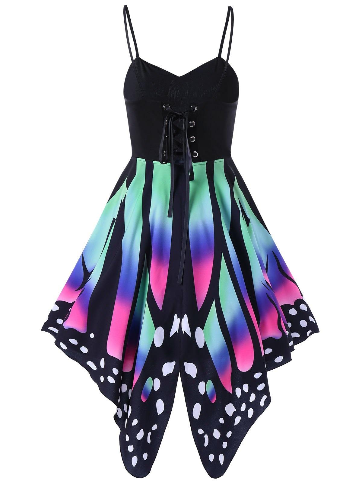 Wipalo 2018 Summer High Waist Butterfly Print Lace Up Slip Dress Sleeveless Knee Length Vintage Cami Dress Vestido De Femme Robe