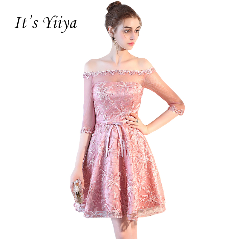It's Yiiya 2018 New Champagne Bean Color Tulle Half Sleeves Boat Neck A-line   Cocktail     Dresses   Lace Illusion Formal   Dress   LF892