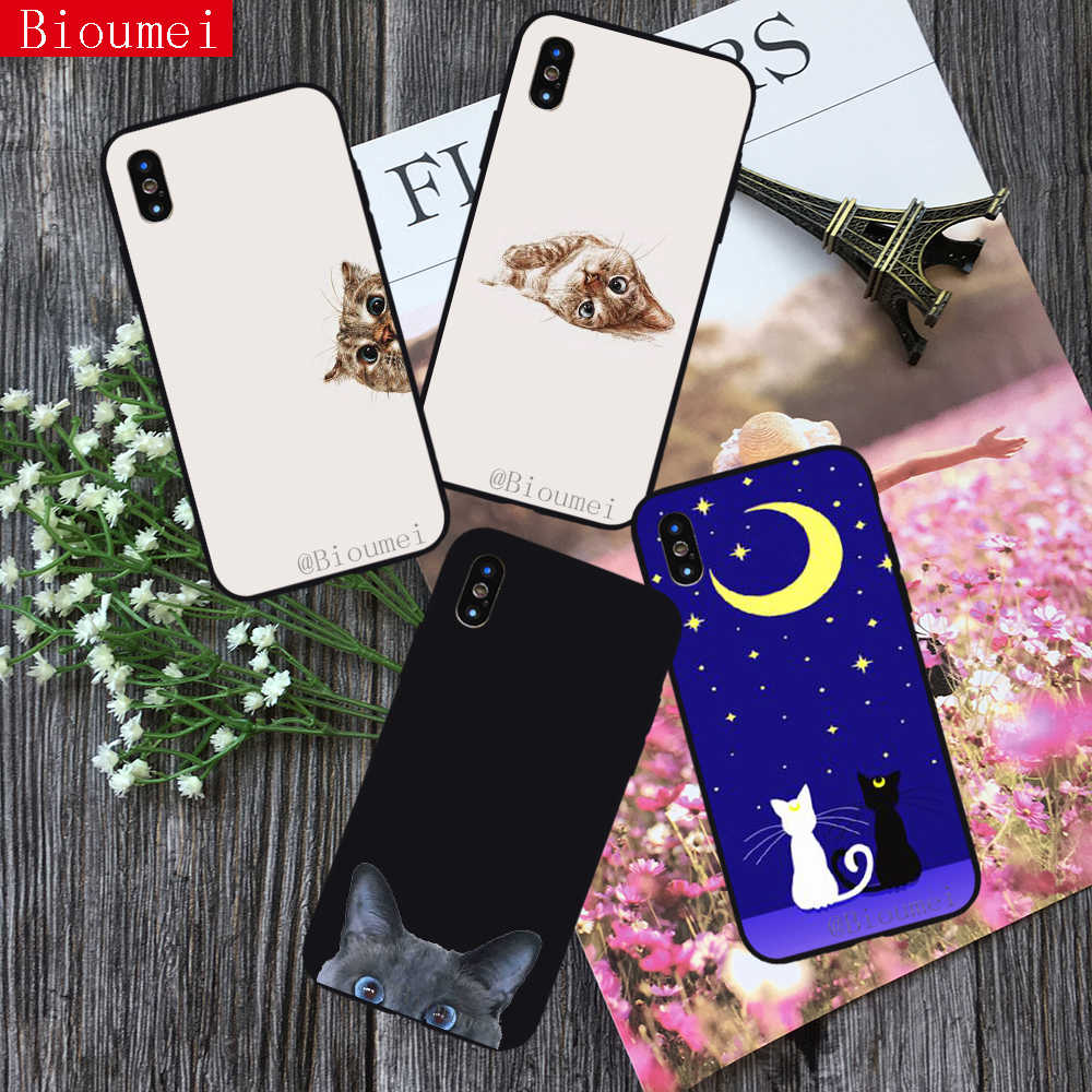 Bioumei Cartoon Moon Cat Wallpapers Soft Tpu Case For Iphone Xs Xr Xs Max Cover Case For Iphone X Xs 5 6 6s 7 8 Plus