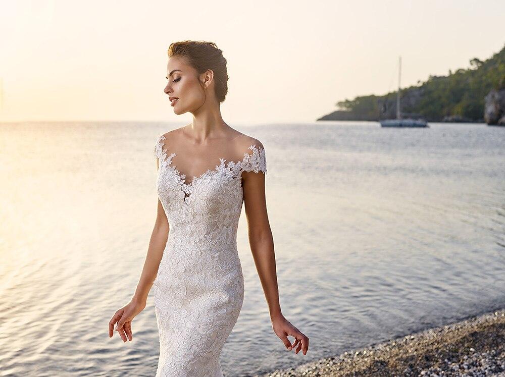 New Vintage Lace Mermaid Wedding Dresses Custom Made Short Sleeve