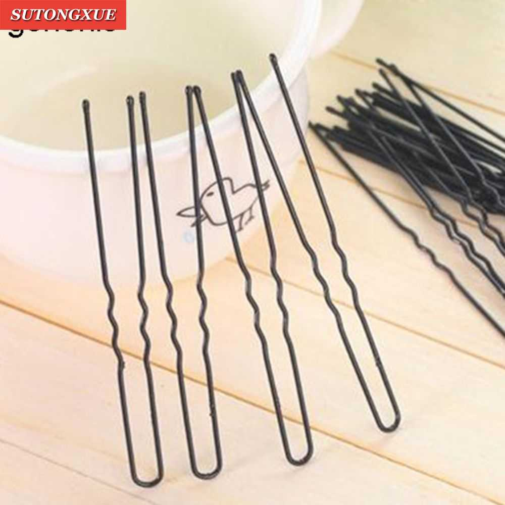 50pcs 6CM ผม Waved U-รูป Bobby Barrette Hairpins สีดำ dropshipping