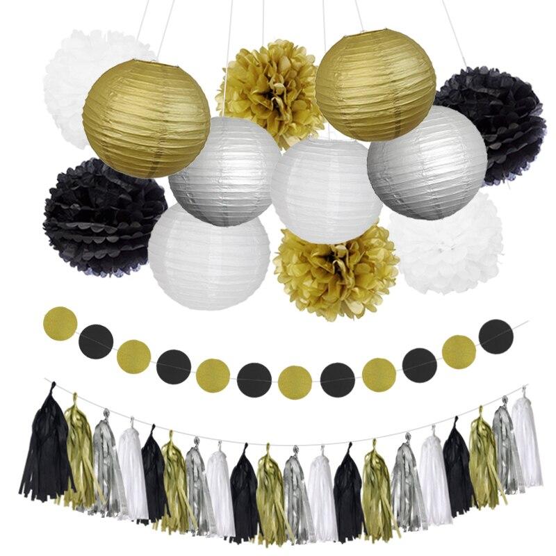 NICROLANDEE Mixed Ouro Preto Branco Tassel Garland Tissue Pom Poms Do Partido da Lanterna de Papel DIY Aniversário Decorações do Ano Novo